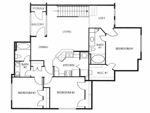 1,333 sq. ft. C2/50% floor plan