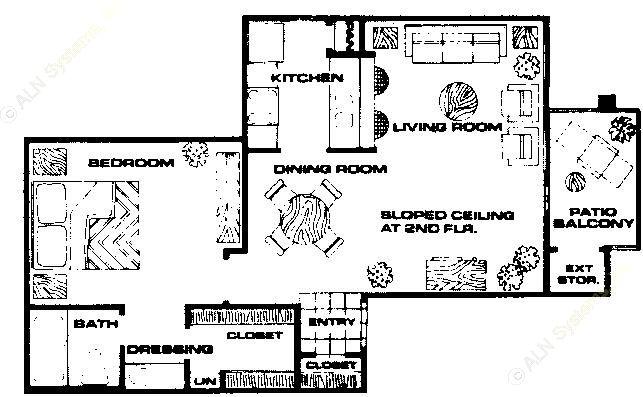 687 sq. ft. A2 floor plan