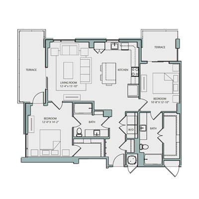 1,215 sq. ft. B2 floor plan
