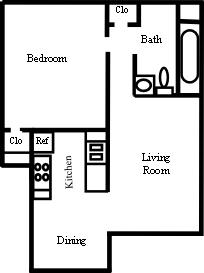 682 sq. ft. A-2 floor plan