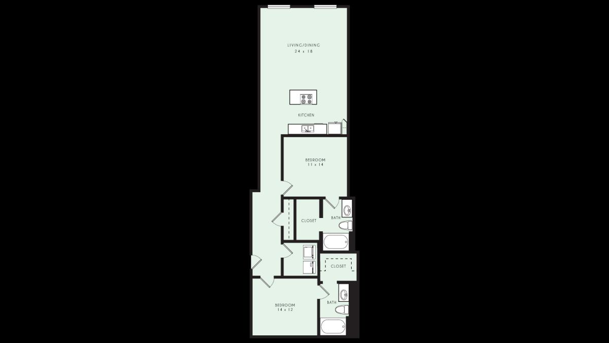 1,169 sq. ft. B07 80% floor plan