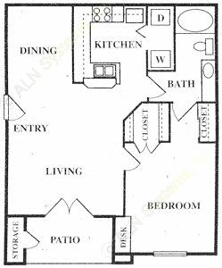 758 sq. ft. Amberly floor plan