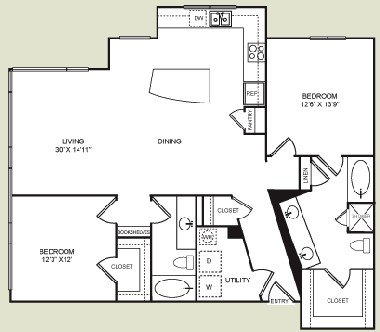 1,307 sq. ft. B4 floor plan
