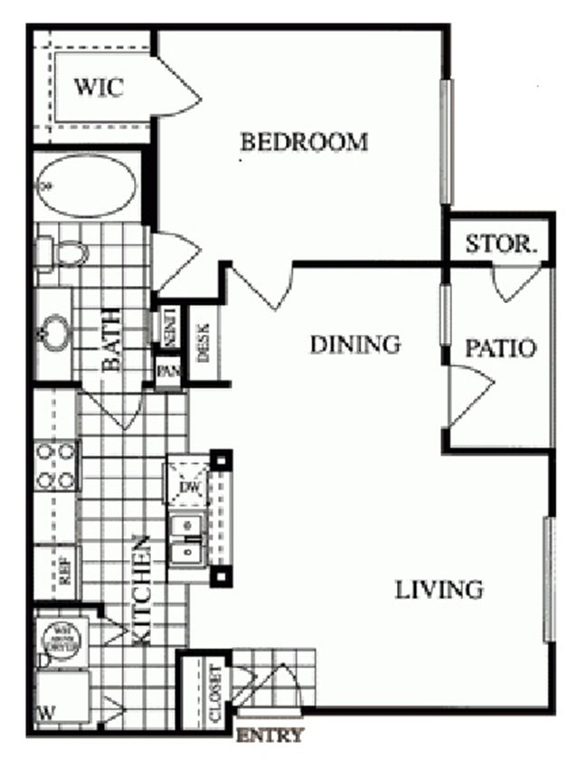 733 sq. ft. Sage/B floor plan