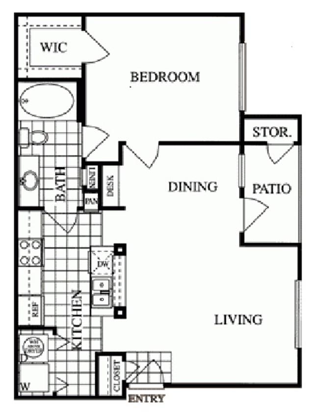733 sq. ft. Sage/B floor plan