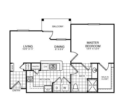 689 sq. ft. Ashford/A1 floor plan