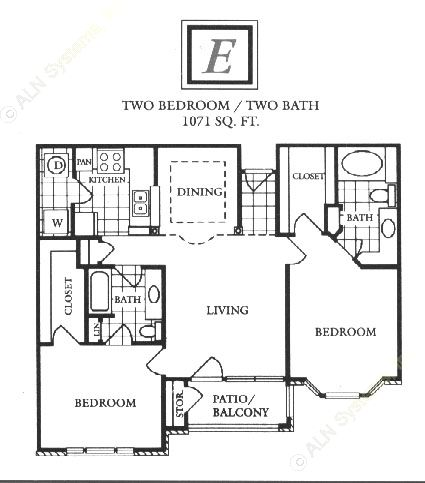 1,071 sq. ft. E floor plan