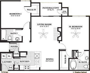 1,084 sq. ft. D3 floor plan