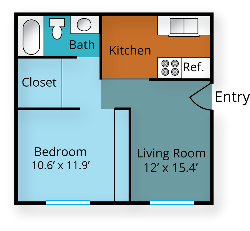 625 sq. ft. floor plan