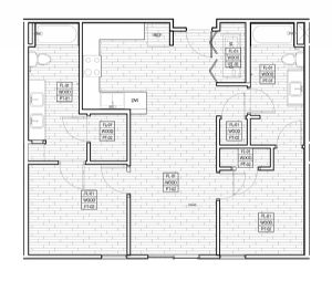 907 sq. ft. 60% floor plan