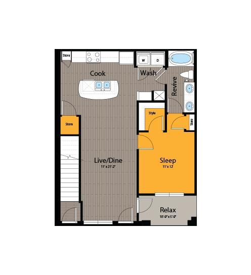 790 sq. ft. A6 floor plan