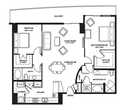 1,374 sq. ft. B1 floor plan