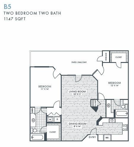 1,147 sq. ft. B5 floor plan