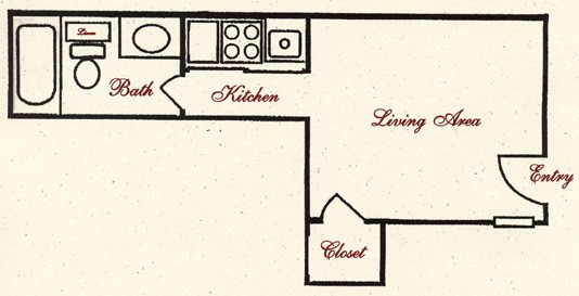 282 sq. ft. E1 floor plan
