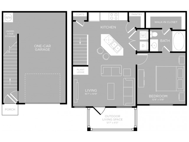 750 sq. ft. Soco floor plan