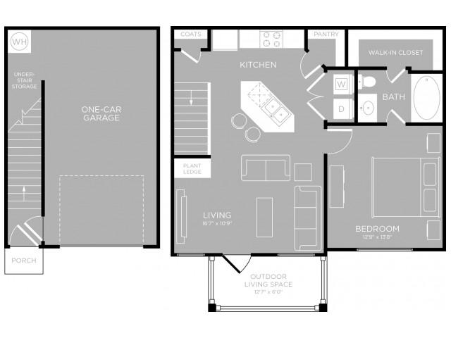750 sq. ft. Soco A3 floor plan