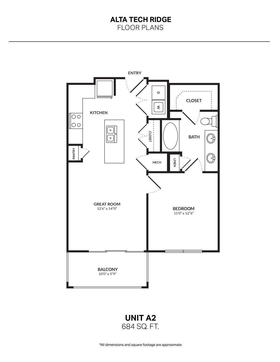 684 sq. ft. A2 floor plan