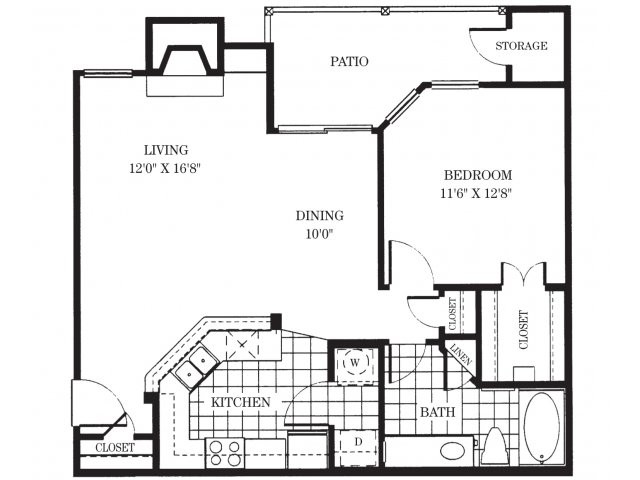 787 sq. ft. A2/Margaux floor plan