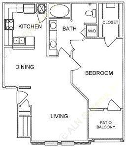 855 sq. ft. A2 floor plan