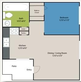 423 sq. ft. Berkeley floor plan