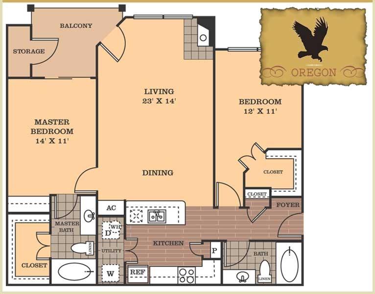 1,147 sq. ft. Oregon floor plan