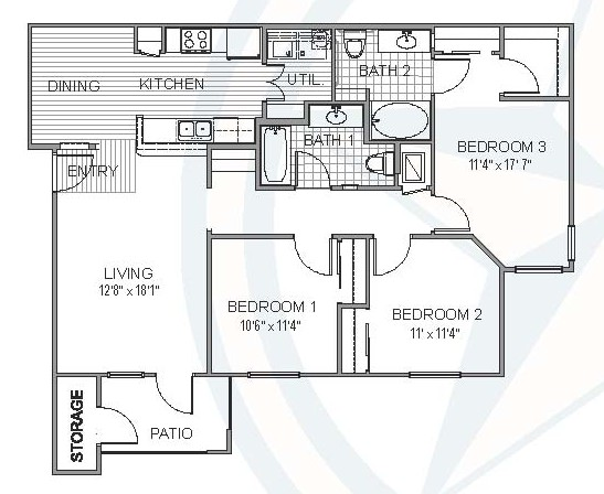 1,209 sq. ft. Mississippi floor plan