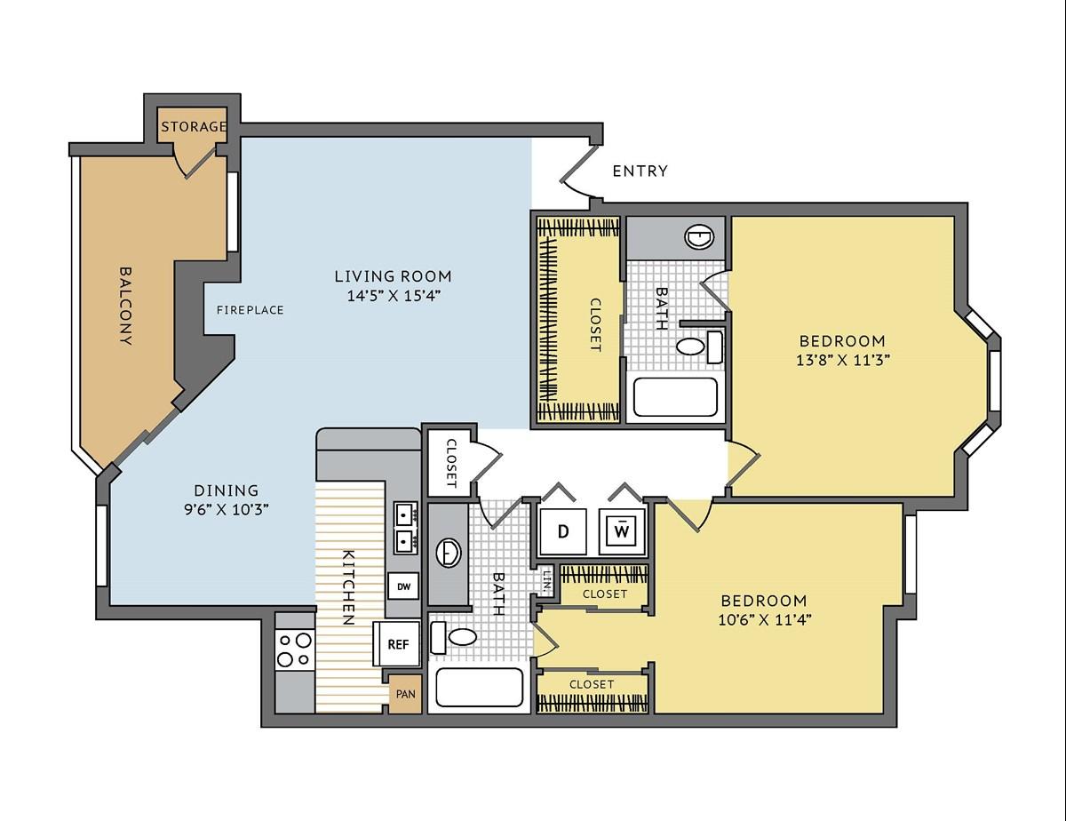 1,056 sq. ft. Newport floor plan