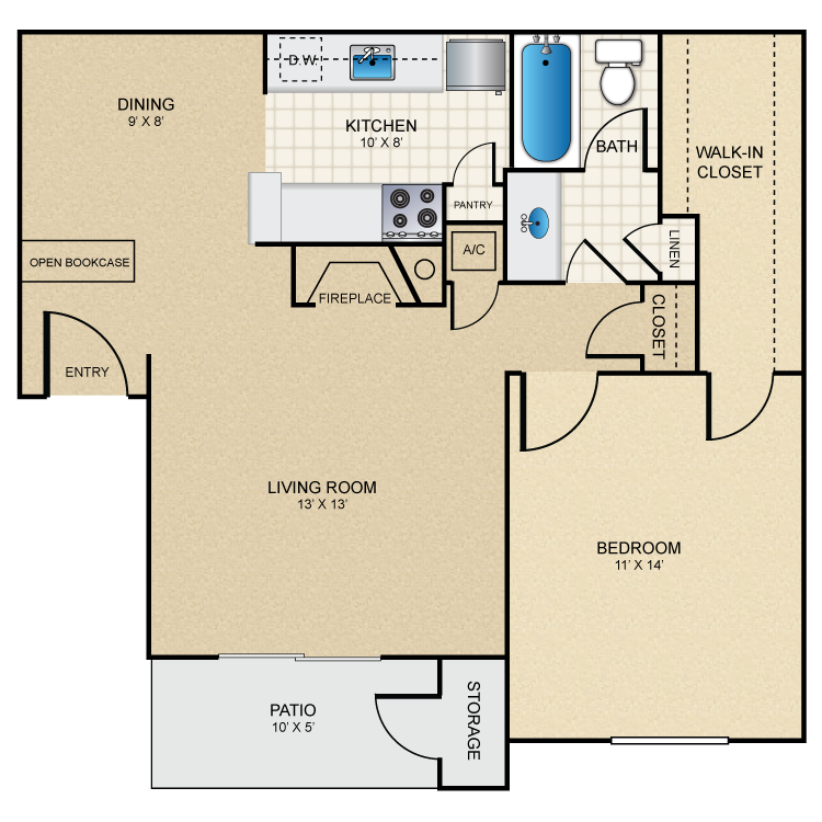 733 sq. ft. A3 floor plan