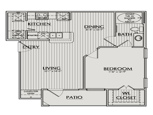 670 sq. ft. Alexander floor plan