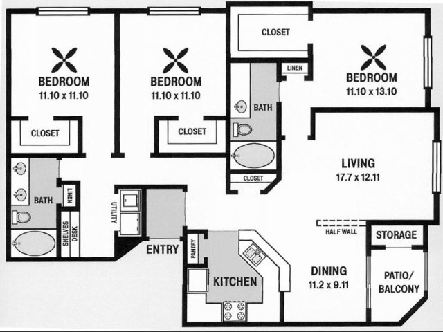 1,600 sq. ft. C1 floor plan