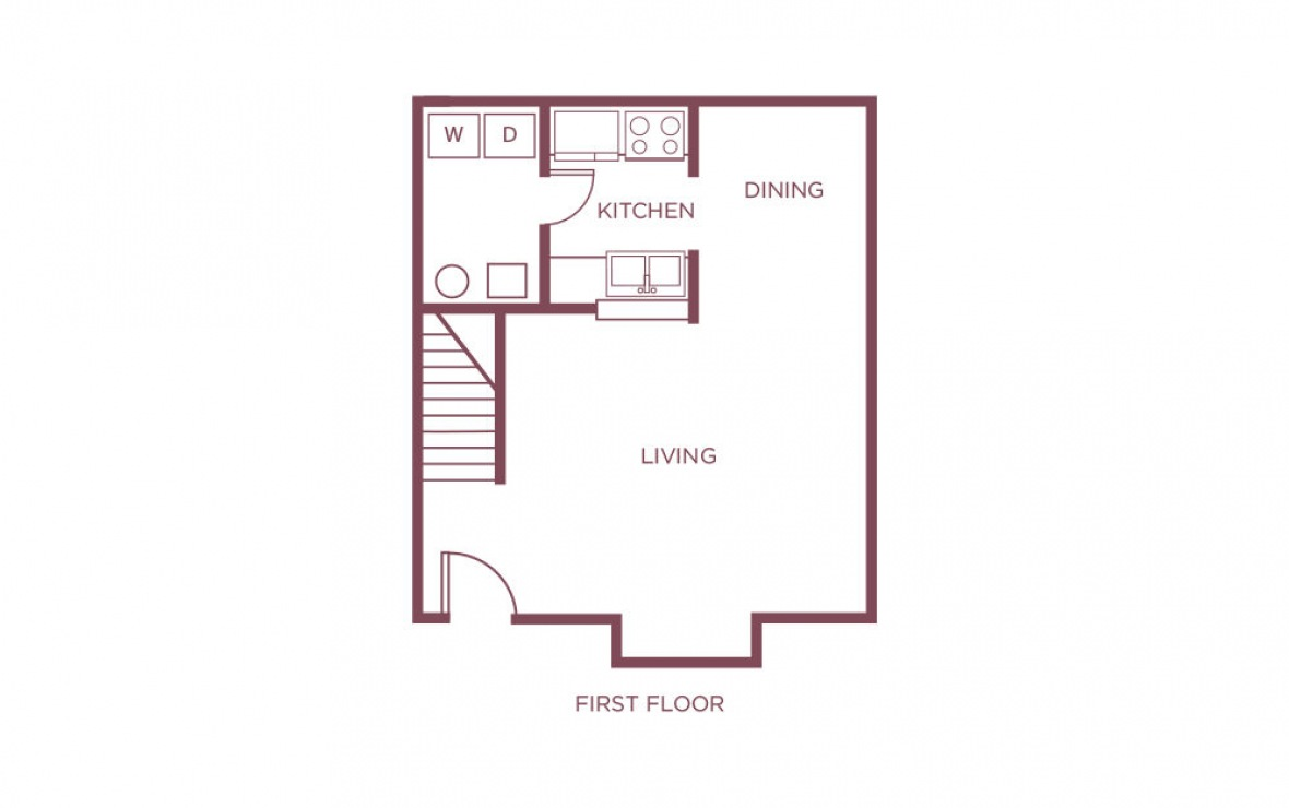 1,113 sq. ft. E floor plan