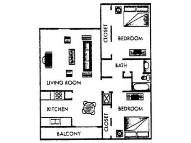 948 sq. ft. Wilson floor plan