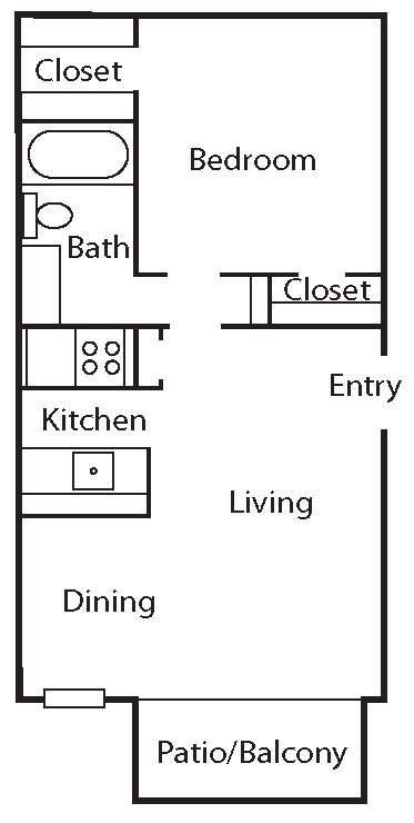 576 sq. ft. A5 floor plan