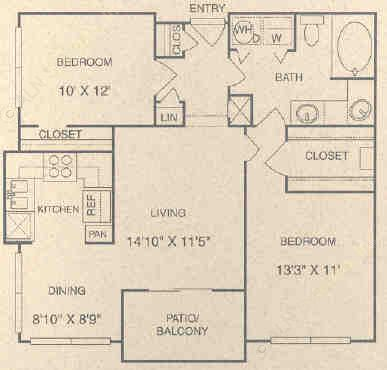 927 sq. ft. DG floor plan