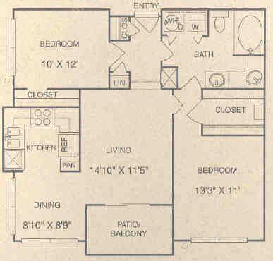 927 sq. ft. DG floor plan