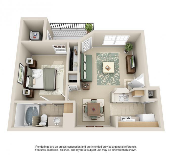 573 sq. ft. Oak floor plan