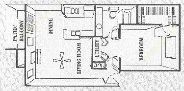 715 sq. ft. Pinebrook floor plan