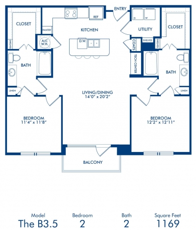 1,169 sq. ft. B3.5 floor plan