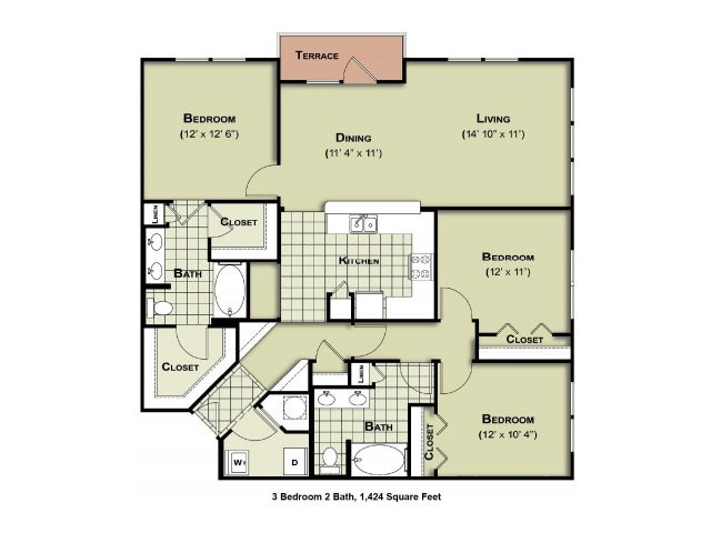 1,424 sq. ft. C1a floor plan