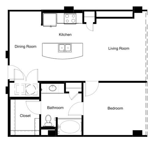 779 sq. ft. A10-II floor plan