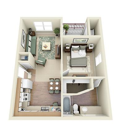 587 sq. ft. Glider floor plan
