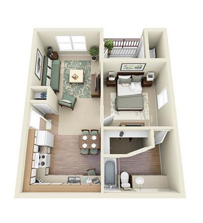 587 sq. ft. Glider floor plan