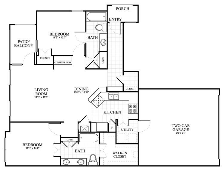 1,217 sq. ft. Berkley floor plan
