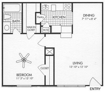 631 sq. ft. A6 floor plan