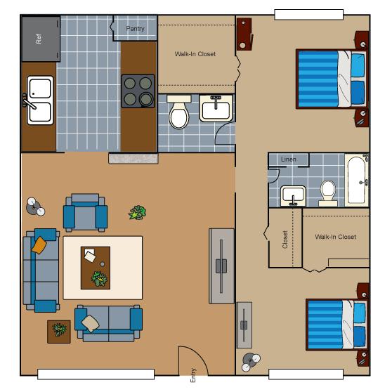 927 sq. ft. B2 floor plan