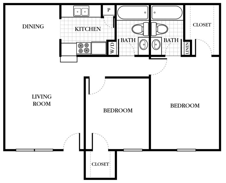 857 sq. ft. Brixton floor plan
