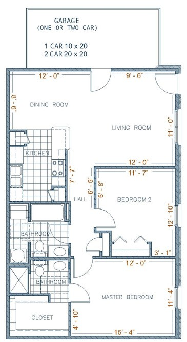 1,050 sq. ft. MIRSAN floor plan