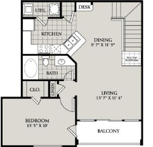 884 sq. ft. A6 floor plan