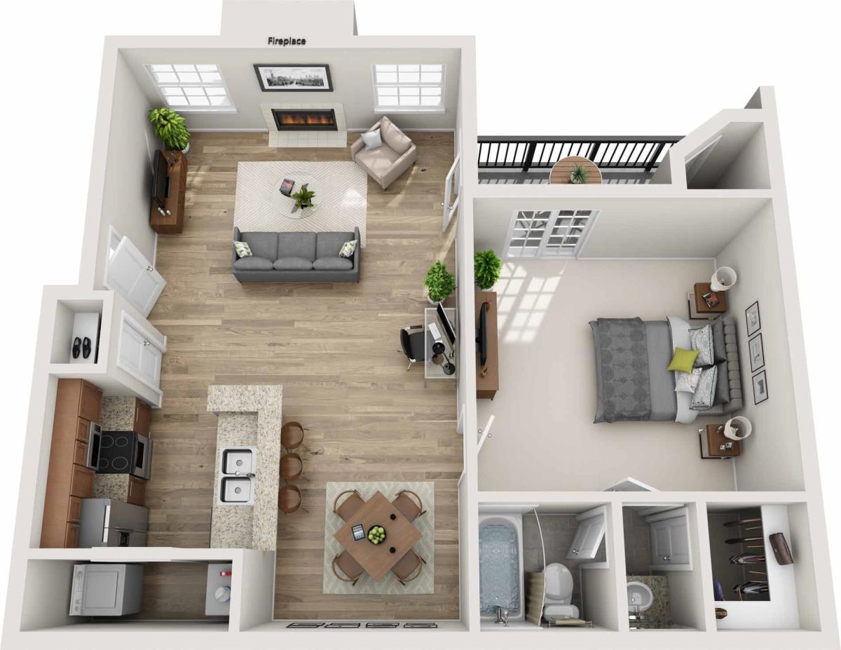 808 sq. ft. B floor plan
