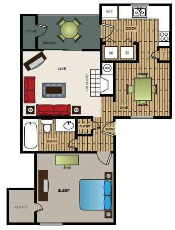 674 sq. ft. A2 floor plan